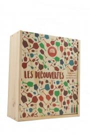 """Caisse Bois 3 Bouteilles """" Les Découvertes """""""