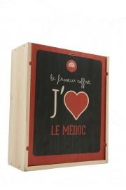 """Caisse Bois 3 Bouteilles """" J'aime Le Médoc """""""