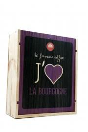 """Caisse Bois 3 Bouteilles  """" J' Aime La Bourgogne """""""